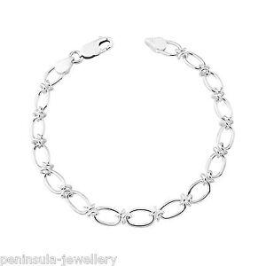 "Sterling Silver Bracelet Ladies 7.5"" Fancy Link Gift Boxed"