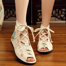 Old Beijing Lace-up National Style Embroidered Flat Heels Fishmouth Sandals New