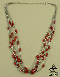 Liquid Silver Sterling & Red Coral Bead Multi-Strand Necklace
