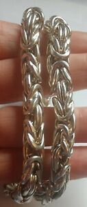 Vintage 925 Sterling Silver Byzantine Kings Necklace Chain 9mm 18 Inch 79.5g