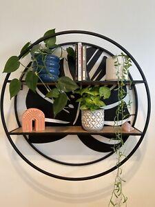 Round Metal Wall Shelf with Monstera Leaf - Monstera Leaf Decor Wall Art - BNIB