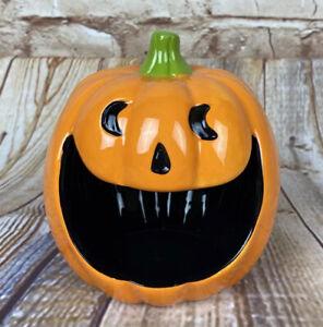 Ceramic Jack O'Lantern Open Mouth Candy Dish 2018 Target Halloween NWT