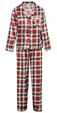 2 Piece Ladies Satin Check Pyjamas Long Sleeve Top and Elasticated Trouser