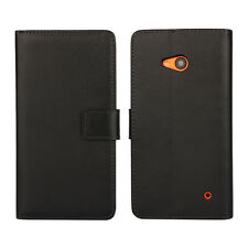 For Nokia Lumia 640 Black Genuine Leather Business Wallet Card Case Cover Stand