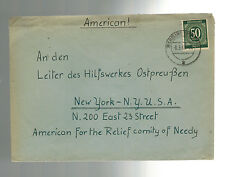 1948 Germany Warburg Cover to USA American Relief Committee of the Needy