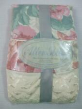 Vintage Allen Solly 2 Standard Pillowcases Ruffle Floral Peach Green No Iron USA