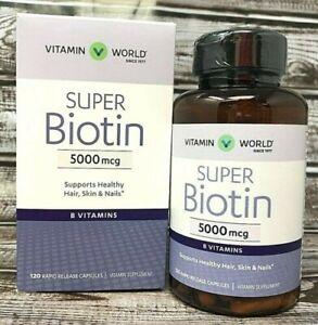 Super Biotin 5000mcg with Calcium - 120 Time Released Caplets - **NO BOX**