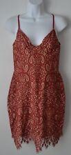 For Love & Lemons, Mini Dress, Nude w Red Lace, Vika, Spaghetti Strap, Zip Back