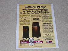Ohm Walsh 4, 2, 1984 Ad, Articles, Info, 1 page, Rare Speaker Info