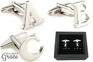 Monogram alphabet initial letter cufflinks box wedding bridal groom fathers day