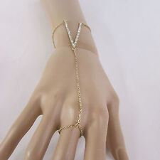 New Women V Shape Bracelet Fashion Hand Chain Slave Ring Silver / Gold / Black