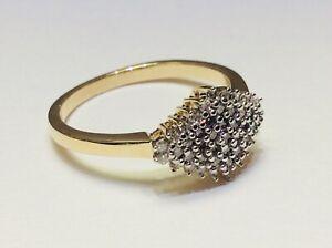 Beautiful 9ct Gold Diamond Shaped Diamond Cluster Ring 0.33 Carat Size N