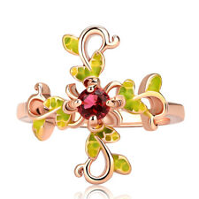 Gorgeous Branch Women Rings Rose Gold Filled Round Cut Ruby Ring Size 9