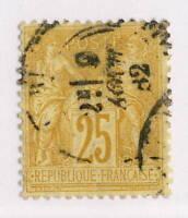 FRANCE - 1882 25c JAUNE-VIF sur BISTRE-JAUNE SAGE N sous U Oblitéré TB