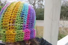 Crochet Messy Bun Hat Women fashion Pony Tail Beanie Mom Handmade pink purple