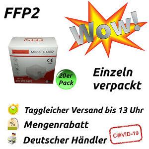 20x FFP2 Maske CE-zertifiziert 5-lagig Atemschutz Mundschutz