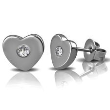 316L Surgical Stainless Steel Cubic Zirconia CZ Heart Ear Studs Earrings