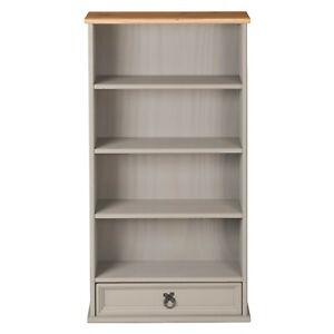 Corona Grey Wax 1 Drawer DVD Rack / Storage Bookcase - Mexican Solid Pine