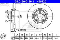 2x Bremsscheibe für Bremsanlage Vorderachse ATE 24.0130-0120.1