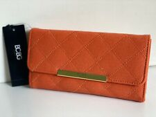 NEW! BCBG PARIS ORANGE QUILTED CONTINENTAL CLUTCH WALLET PURSE $48 SALE