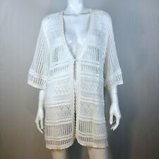 Women's Sz 3X (26-28W) White Crochet Cardigan Sweater Career Casual