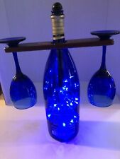 Unique Decorative Light-up Wine bottle & glasses with Wooden Hold