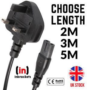 Figure 8 C7 UK Power Cable FOR XBOX X SERIES PLAYSTATION 5 SKY Q Mains Lead Plug