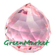 40mm Chandelier Hanging Feng Shui Pendant Beads Glass Crystal ball-Light Pink