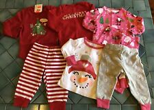 Carter's Baby Girl 6m Pajama Pjs Lot First Christmas Holiday Santa Snowman!
