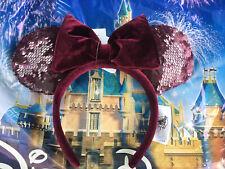 Disne Parks Burgundy Bordeaux Velvet Minnie Mickey Mouse Ear Headband In Hand