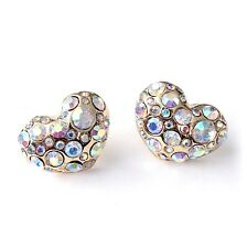Gold Heart Iridescent Stone Stud Earrings Puffy Hearts Studs Rainbow Stones