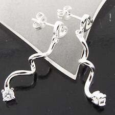 STUD EARRINGS 925 STERLING SILVER S/F DIAMOND SIMULATED LONG DROP DESIGN FS3A105