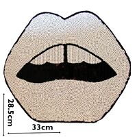 Sequin Lips White Sew On Patch Motif Patches Badge 28.5cm x 33cm Sew Only P186