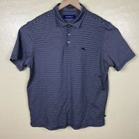 Tommy Bahama Polo Shirt Mens Size XL Gray Black Striped Pima Cotton Short Sleeve