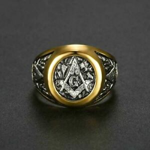 Men's Masonic G Square Ring-Two Tone Gold & Silver- CZs on ring Face- Size 7-12