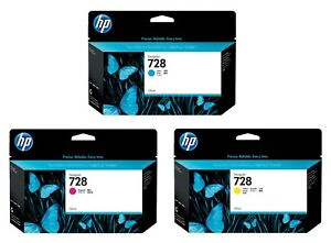 GENUINE HP728 130ML INK CARTRIDGES, CHOICE OF 3 COLOURS IN LOT - SWIFTLY POSTED