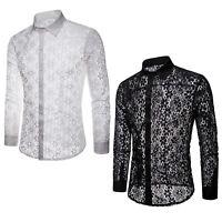 Hemd Herren Langarm Unterhemd Langarmshirt Transparent Spitze Shirt Top Clubwear