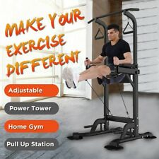 Power Tower Pull Up Bar Dip Station Heavy-Duty Home Indoor Gym Fitness Equipment