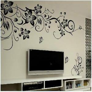 DIY Removable Black Flowers Mural Decal Art Vinyl Wall Stickers Home Decor