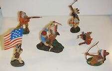 VINTAGE ELASTOLIN TOY INDIAN COMPOSITION FIGURES (8) G to VG Pre WWII Germany