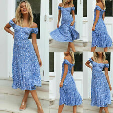 Womens Boho Floral Off Shoulder Long Dress Summer Sexy Wrap Beach Sundress