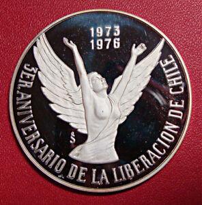CHILE, 10 PESOS 1976, NEW GOVERNMENT ANNIVERSARY, KM #211, ULTRA CAMEO
