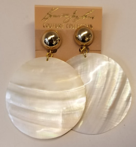 Kenneth Jay Lane Gold Shell Clip Earrings