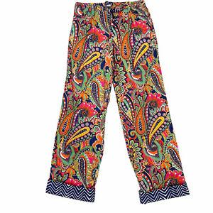 Vera Bradley Womens Pajama Sleep Pants S  Navy Colorful Paisley Pull On Lounge