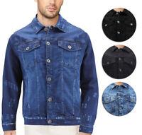 Men's Classic Distressed Casual Button Up Stretch Jean Trucker Denim Jacket