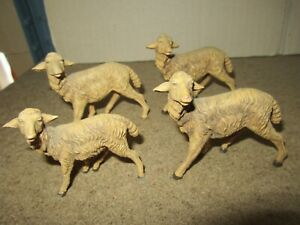 745Q Toy Old Plastic Made IN Italy Bundle Of 4 Sheep H 6.5 CM & H 5.6 CM