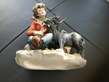 Vintage Capodimonte Donkey eating carrots with boy&tree. VGC.Benefits Charity