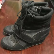 Women's Simply Vera Wang Black Canvas Wedge Heel Sneaker zip/lace up Size 8M