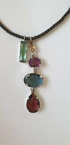 Otazu Halskette geflochtenes Leder mit Kristallen bunt , Neu mit Etikett