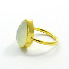 Natural Aqua Chalcedony Pear Gemstone Silver Gold Vermeil Ring Size US 6 R312